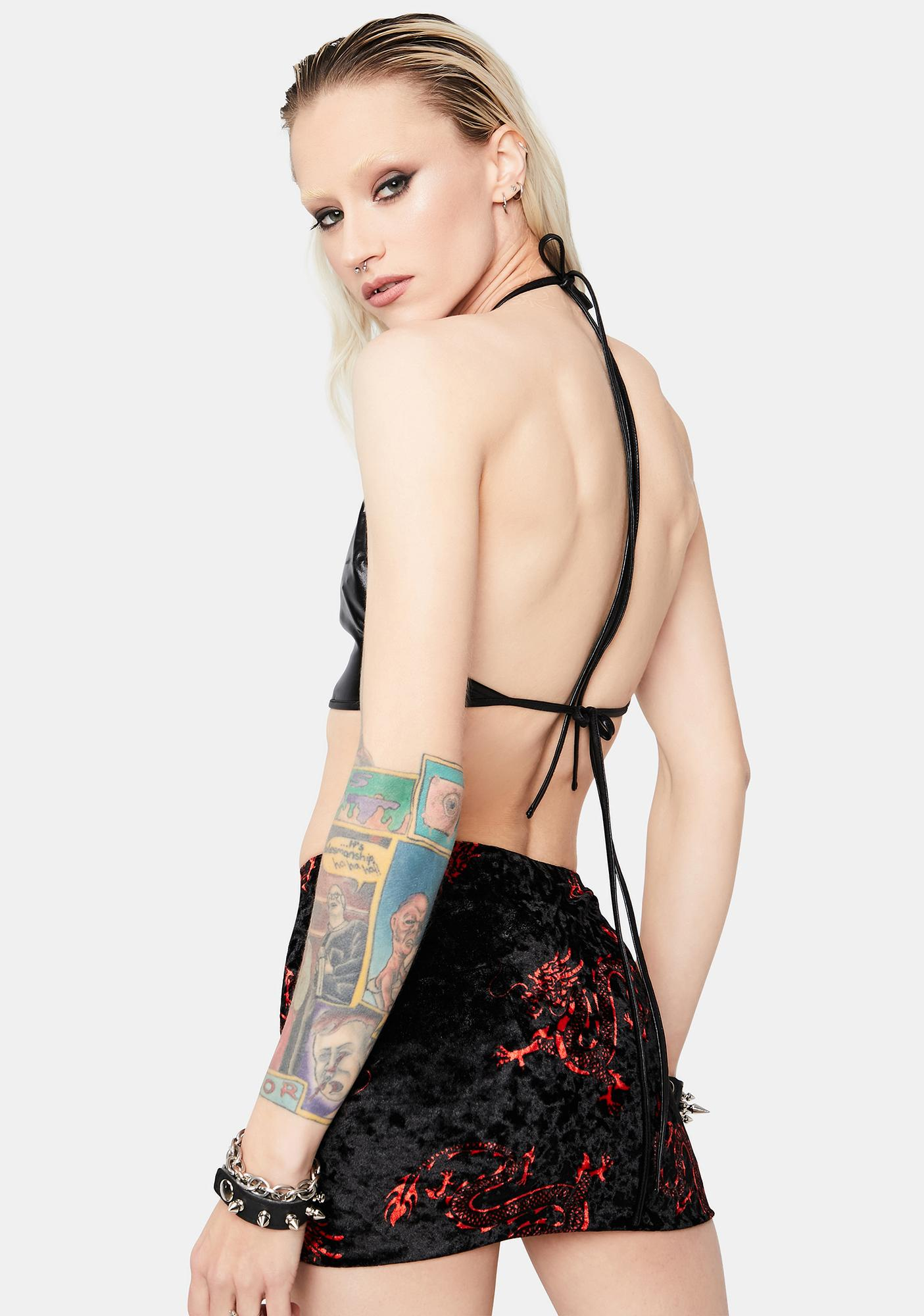 Fiery Flair Velvet Mini Skirt