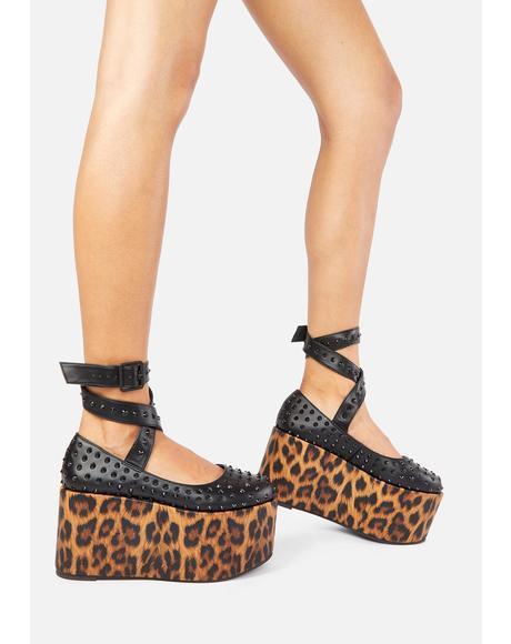 Leopard Shebop Platform Mary Janes