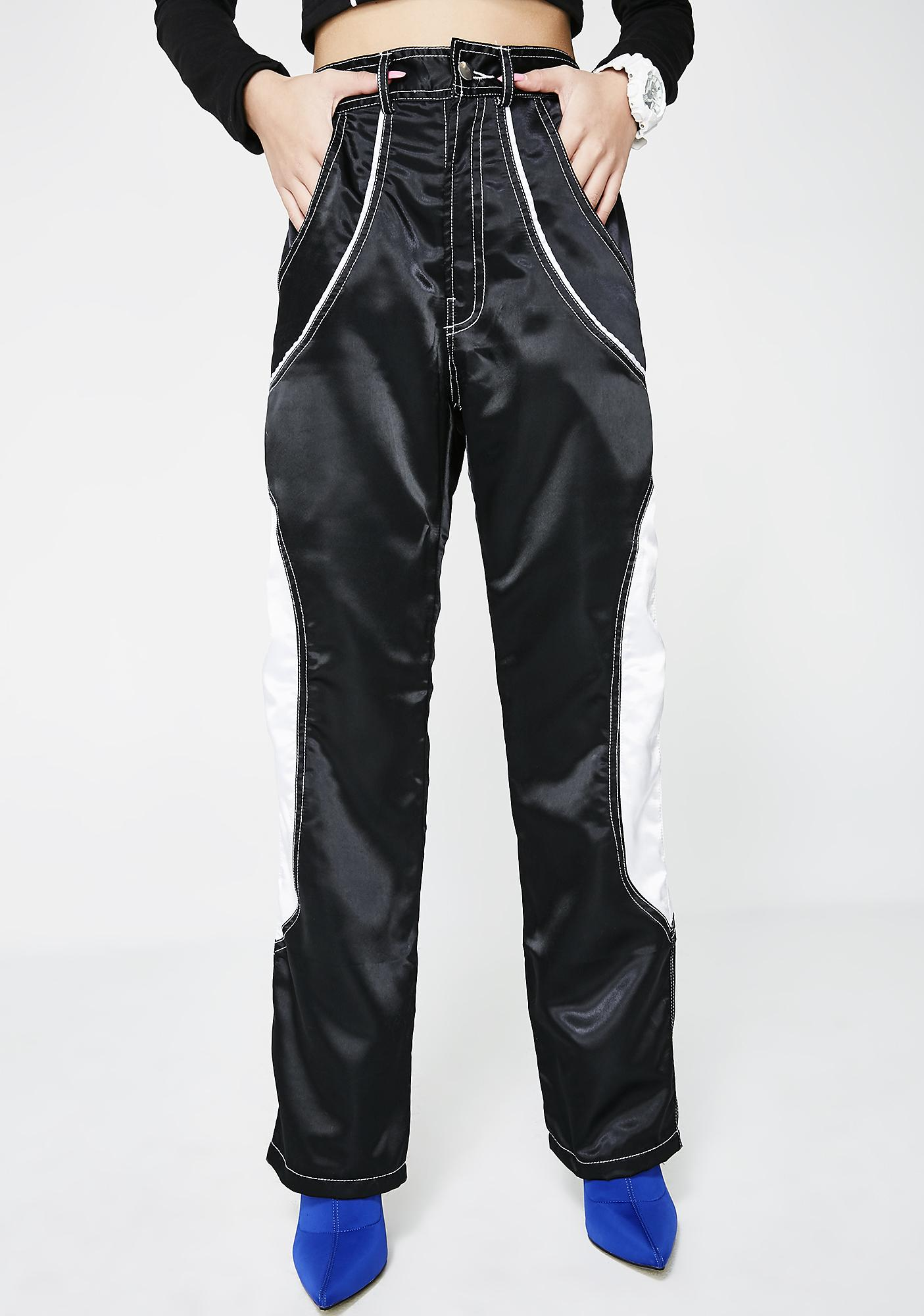 Sicko Cartel Black-White Satin Pants