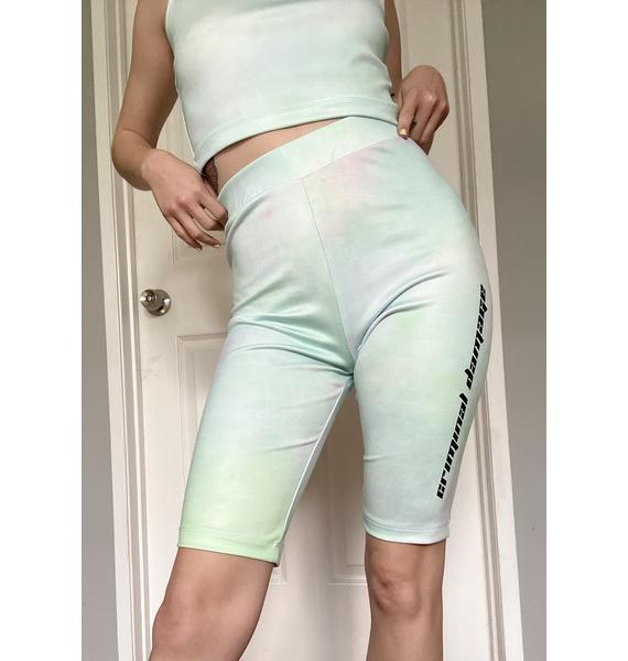 Criminal Damage Tie Dye Logo Biker Shorts