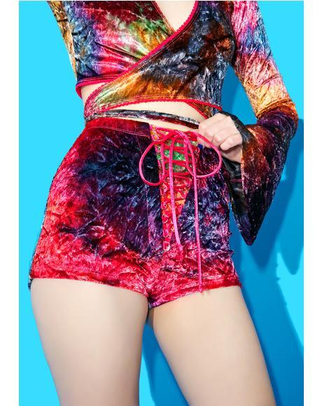 Stay Foxxy Velvet Lace-Up Shorts