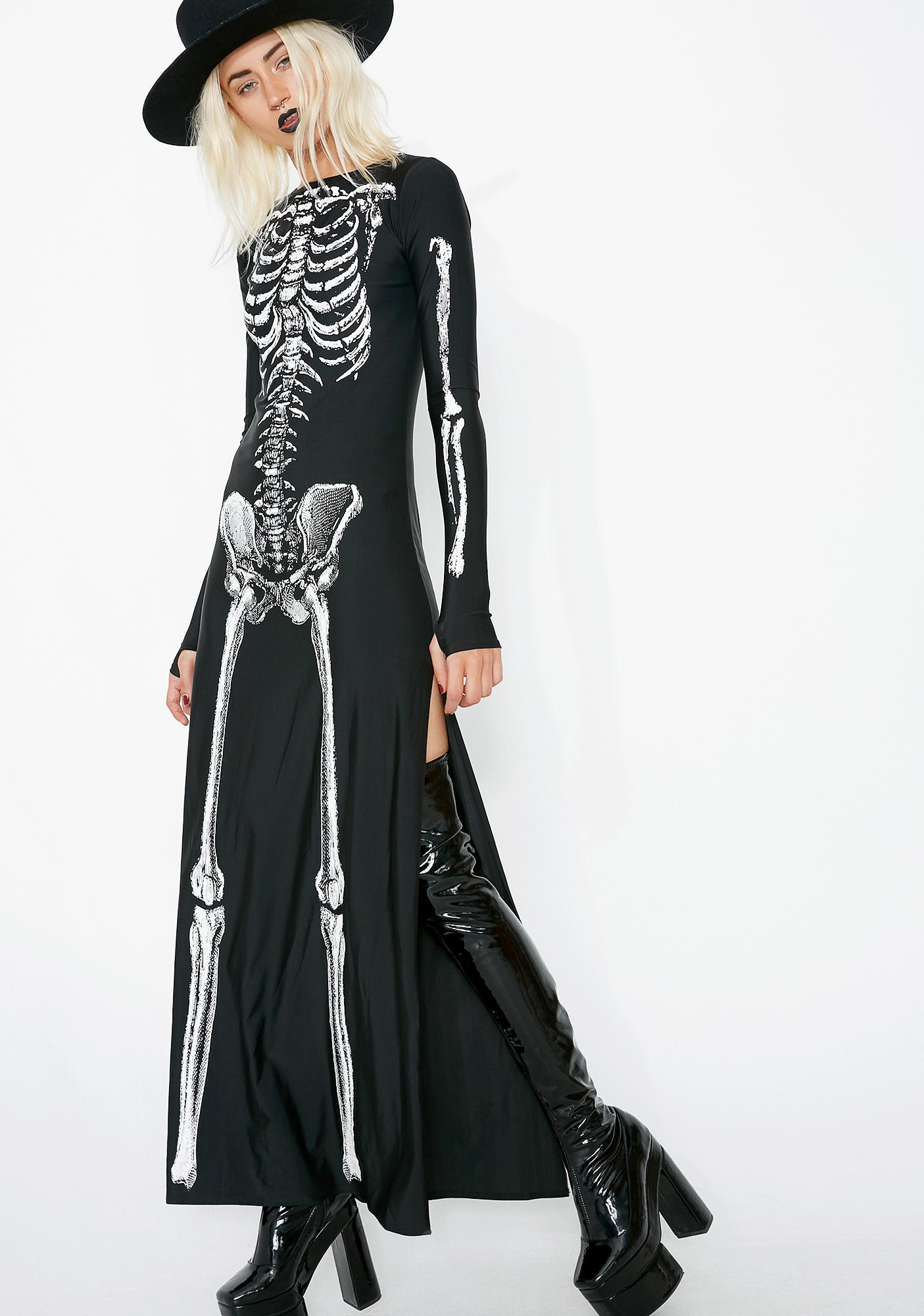 cf35063226f8 Sexy Skeleton Maxi Dress Costume | Dolls Kill