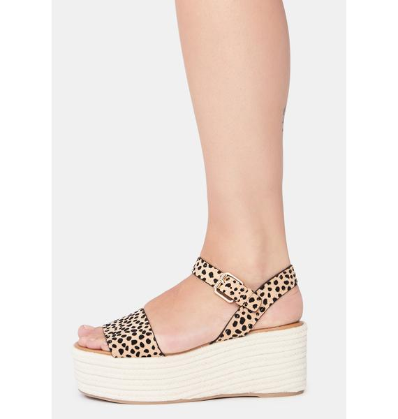 Suede Tan Out With A Bang Platform Sandals