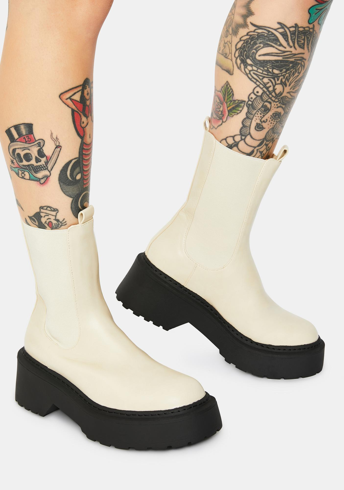 4TH & RECKLESS Edie Cream Chelsea Boots