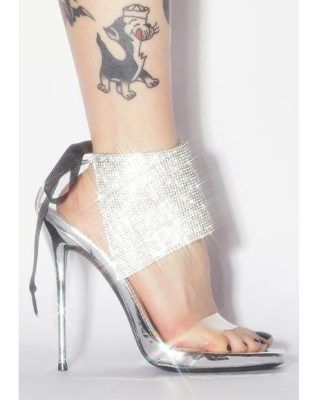 Drip Rhinestone Clear Heels