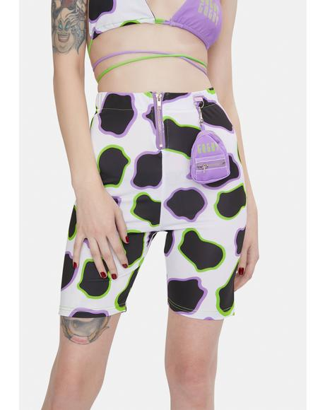 Cow Print Biker Shorts With Mini Bag