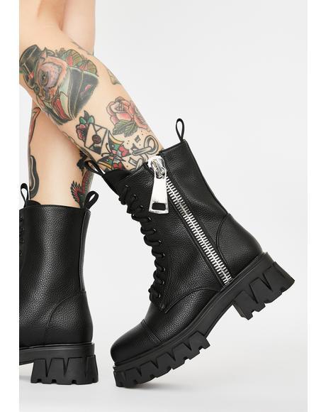 Atrunis Mega Zipper Combat Boots