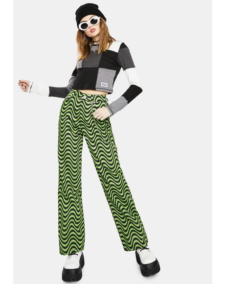 Lime Wave Print Dad Jeans