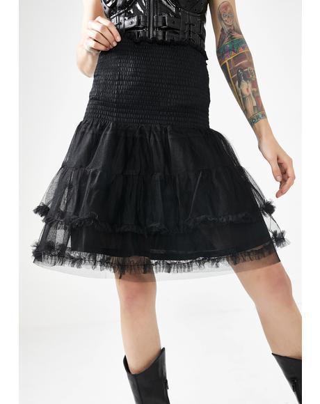 Mesh Ruffle Mini Skirt