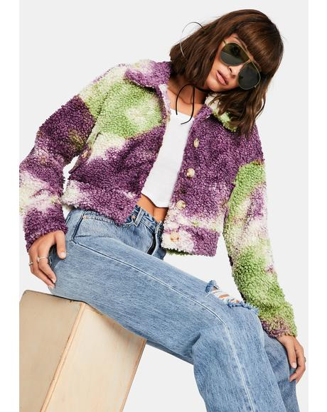 All Bundled Up Tie Dye Sherpa Jacket