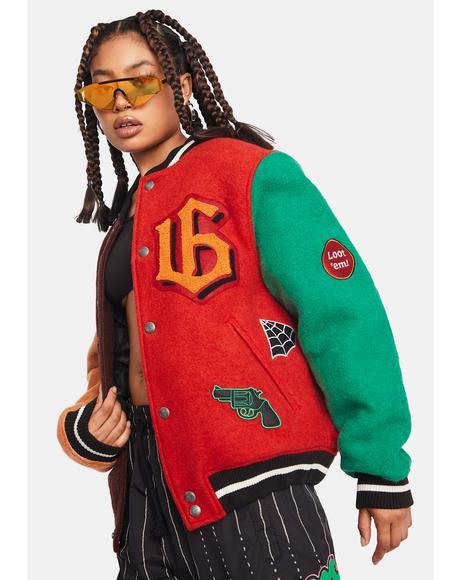 Wool Colorblock Baseball Jacket