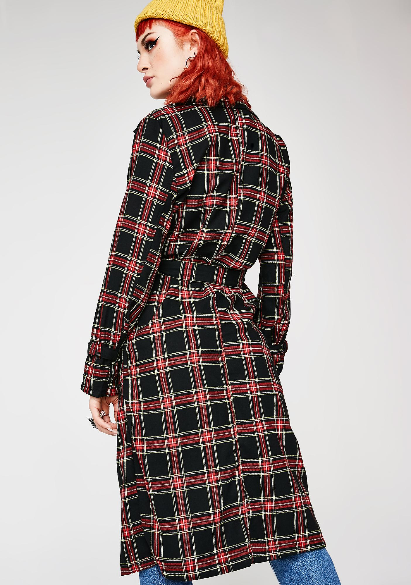 Dark Blaire Plaid Trench