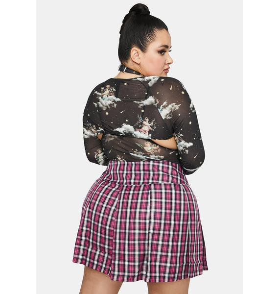 HOROSCOPEZ Lil Snapshot Saver Plaid Mini Skirt