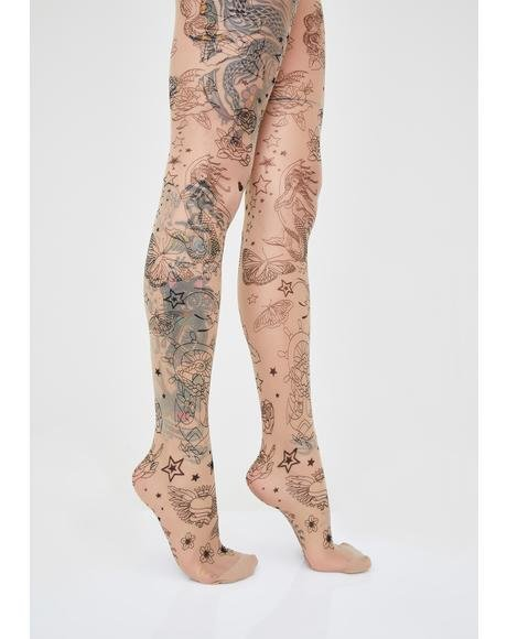 Faux Baddie Tattoo Tights
