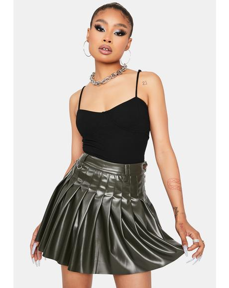Olive Troubled Soul Pleated Skirt