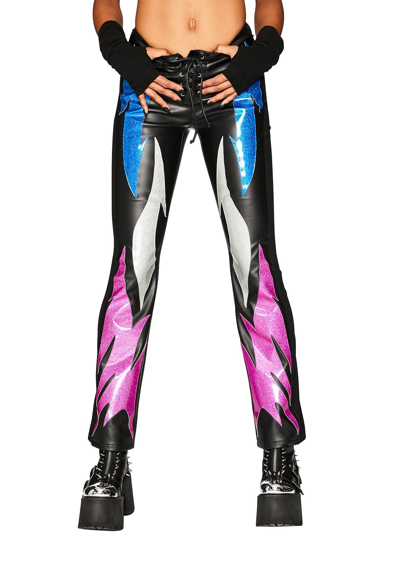 Club Exx Into The Flames Vegan Leather Pants