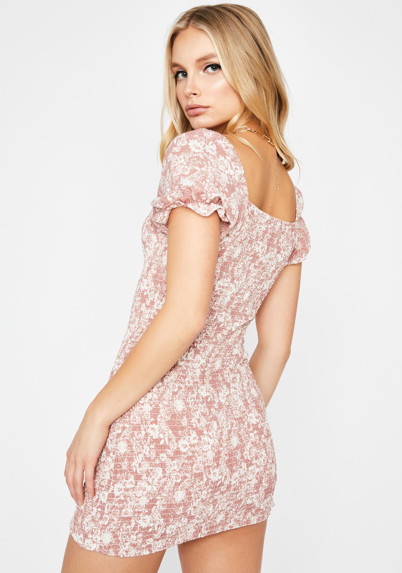 Mauve Grunge Garden Floral Dress