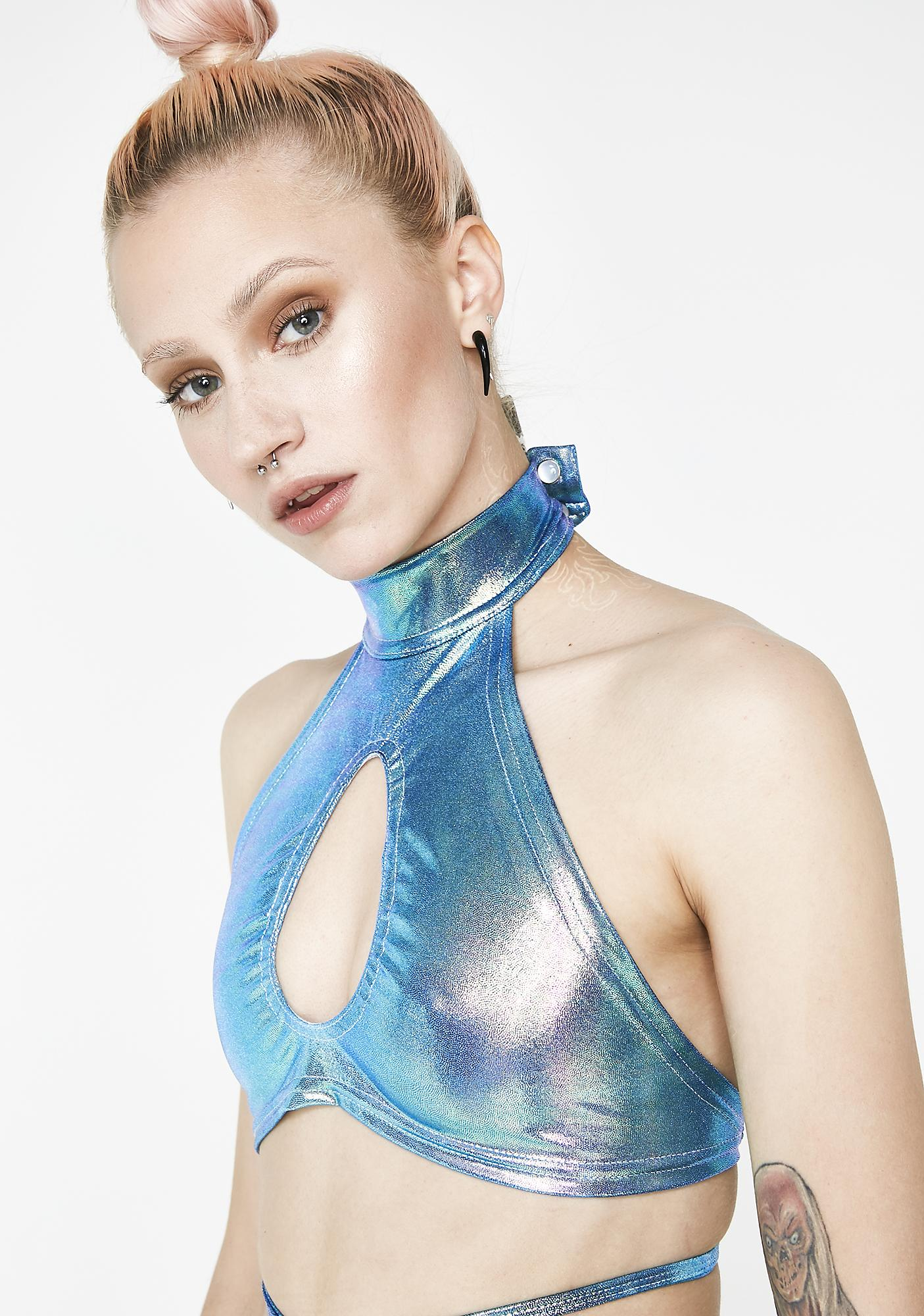 Rolita Rave Couture Ocean Blue Ethereal Wrap Top