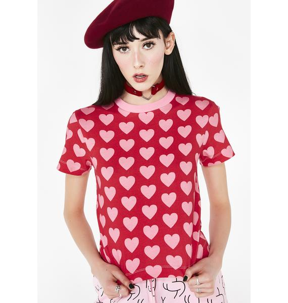Lazy Oaf Heart Repeat Fitted Tee