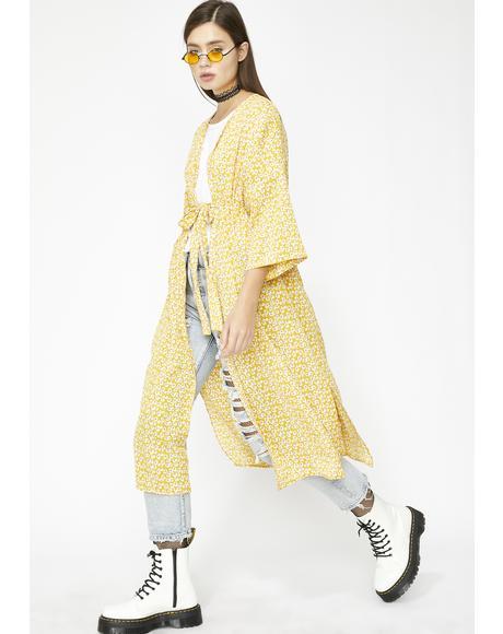 Come Thru Glowin' Floral Kimono