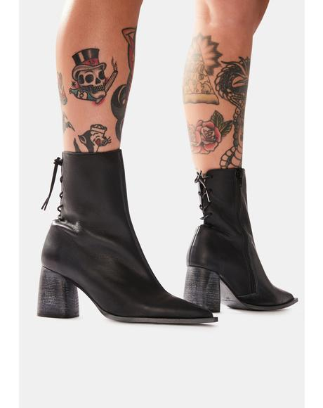 Livia Leather Laceback Heel Boots