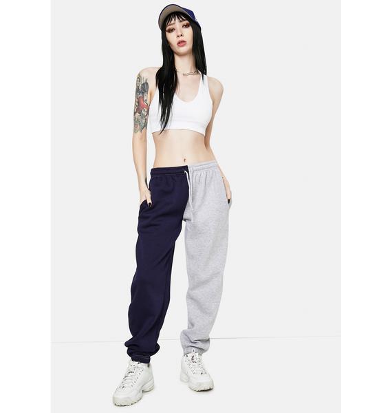 Daisy Street Megan Navy Grey Split Sweatpants