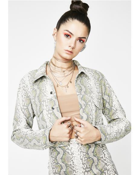 Sage Viper Snakeskin Jacket