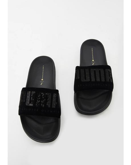 X Charlotte Olympia Leadcat Slides