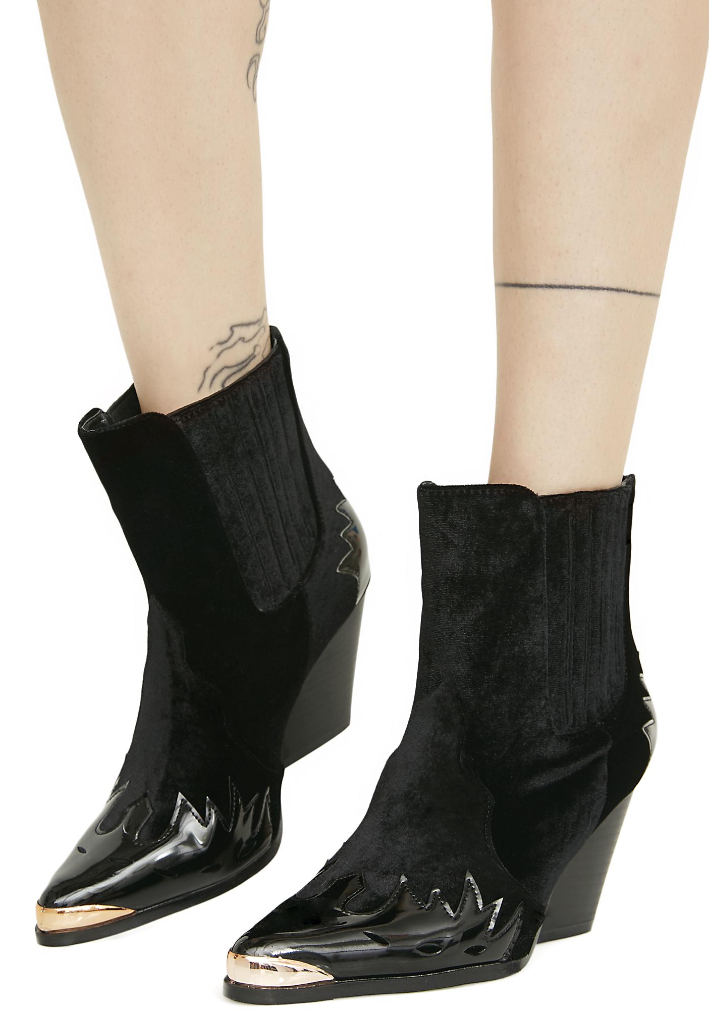 Black Velvet Metal Toe Western Ankle Boots