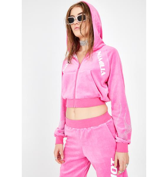 Namilia Pink Crystal Flame Velour Jacket