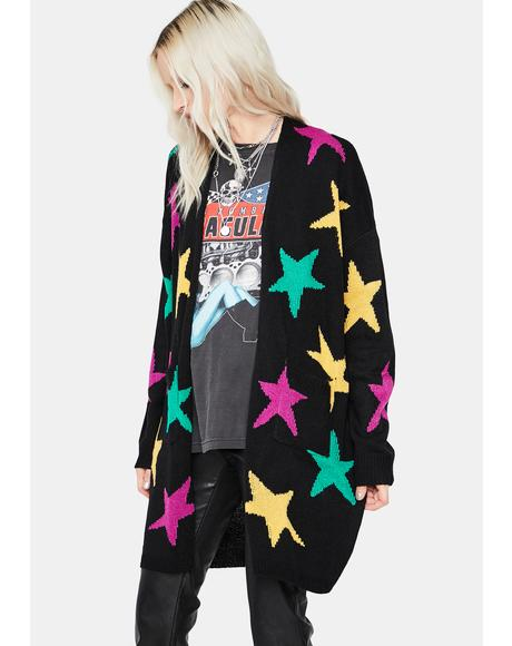 Night Fifteen Minutes Of Fame Star Cardigan
