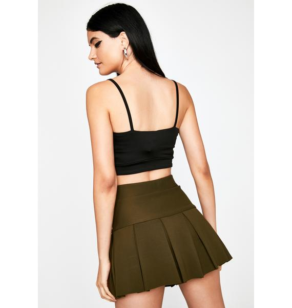 Olive Wicked Scholar Pleated Mini Skirt