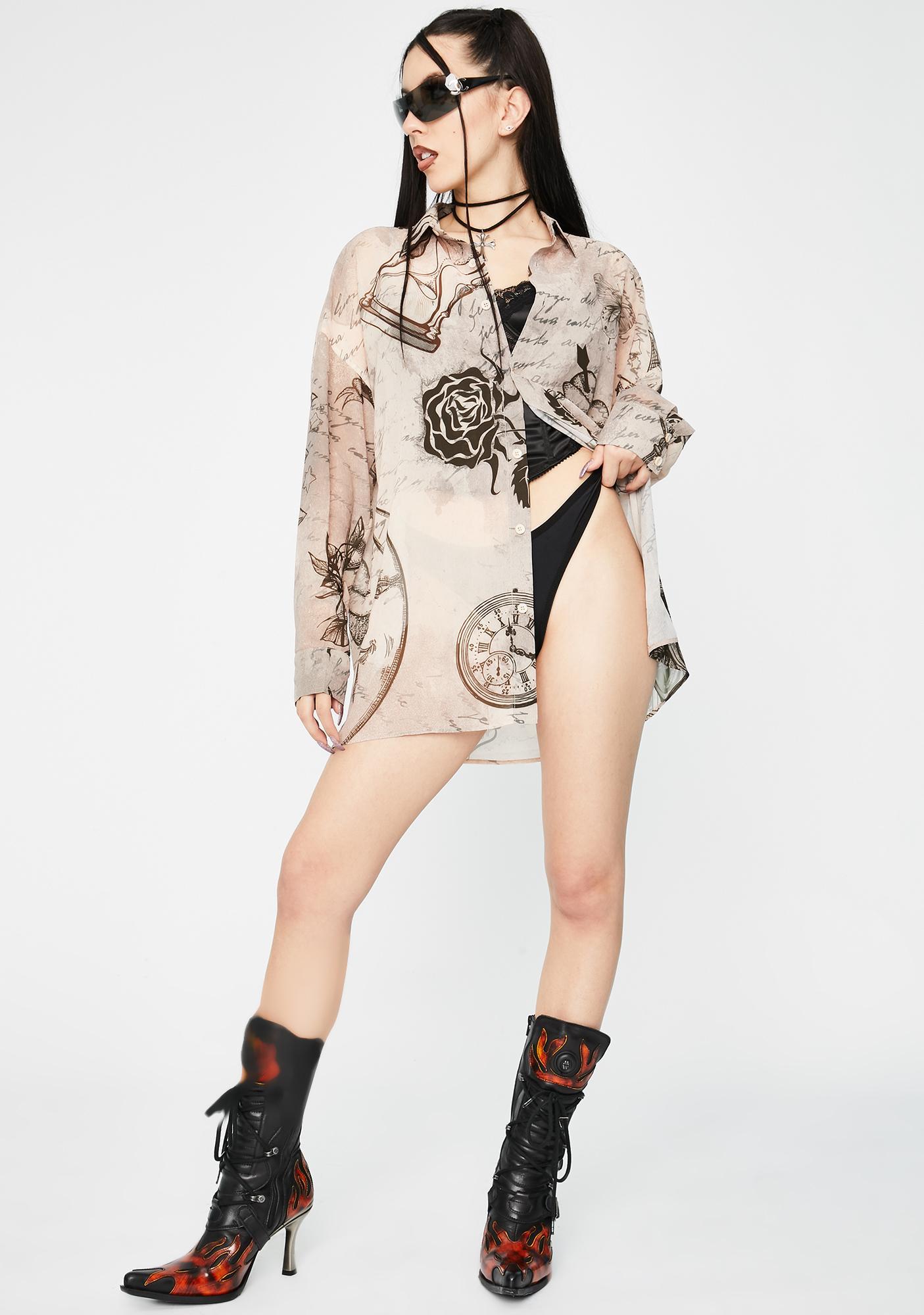 Jaded London Mystic Tattoo Chiffon Button Up Shirt