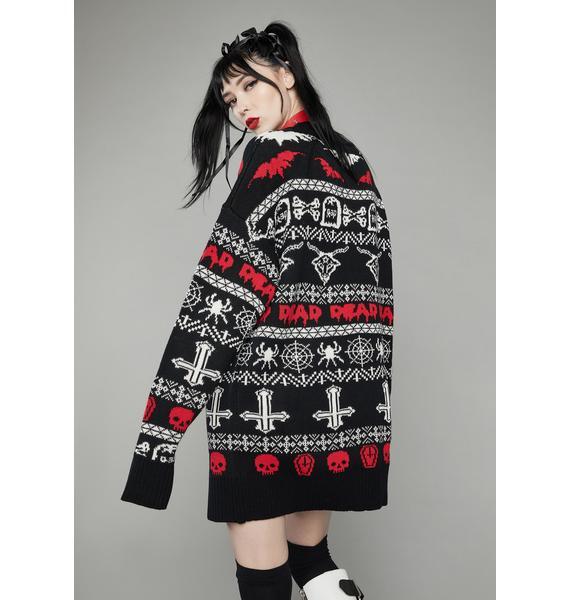 Dolls Kill Holi-Dead Cheer Intarsia Sweater