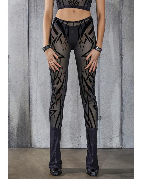 Snare Tattoo Print Mesh Leggings And Thong Set