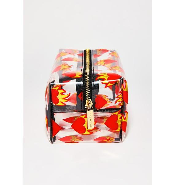 Skinnydip Flaming Heart Make Up Bag