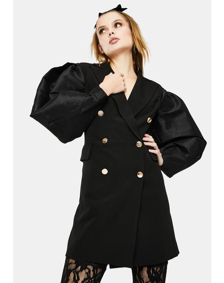 Taffeta Statement Sleeve Blazer Dress