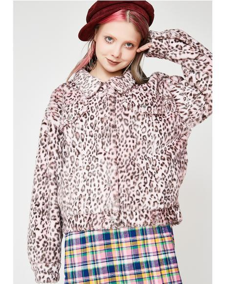 Pink Leopard Fur Jacket