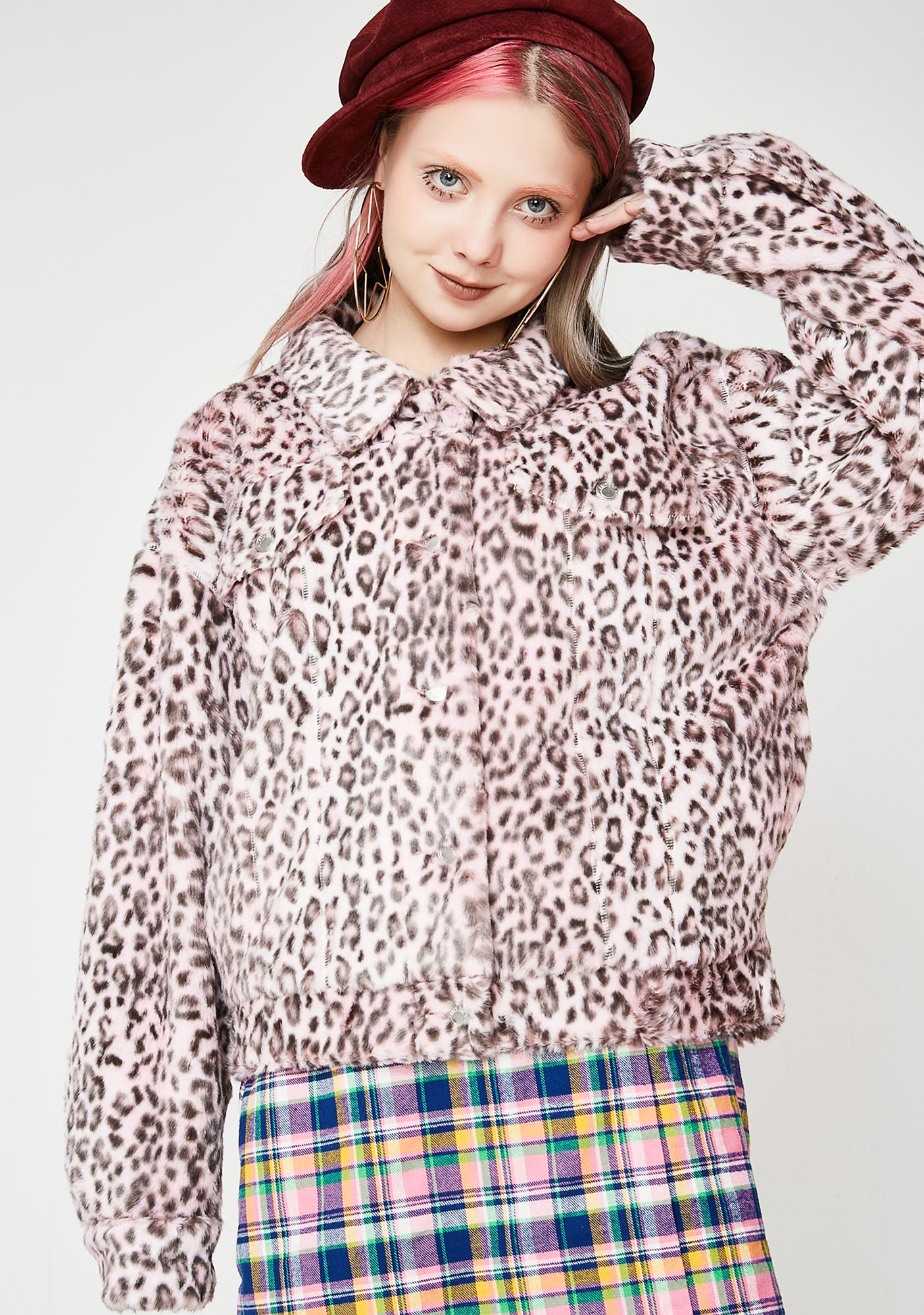 Lazy Oaf Pink Leopard Fur Jacket