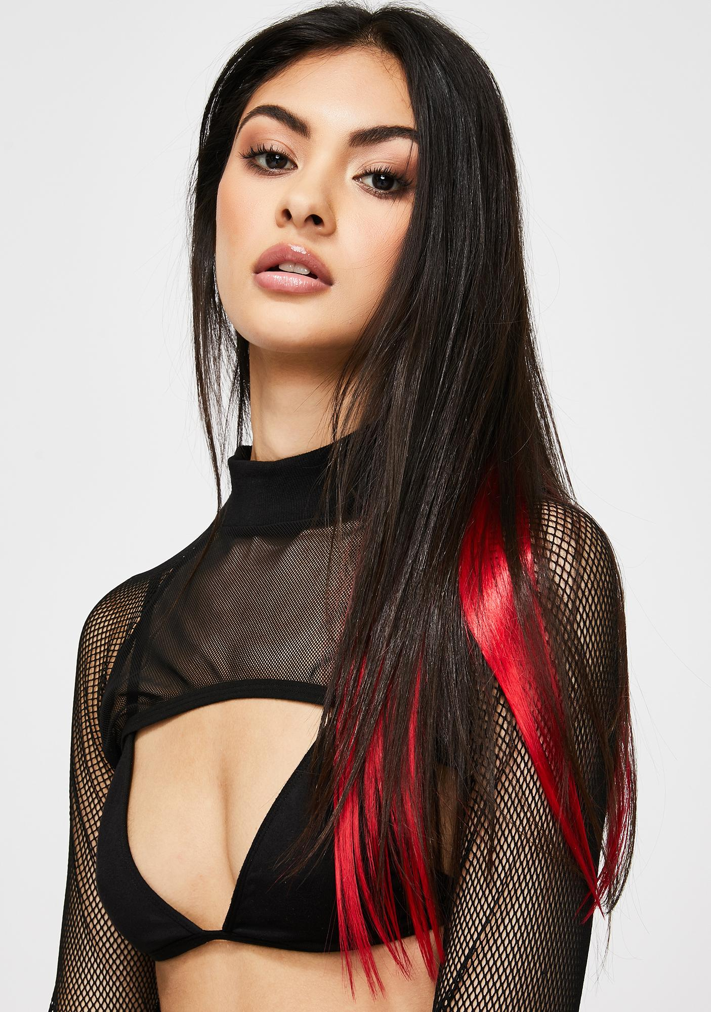 Red Clip In Hair Extensions by Shrine