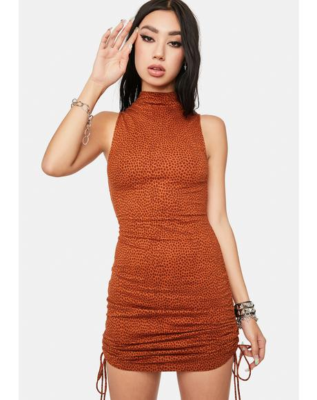 Brown Mini Croc Ady Bodycon Dress