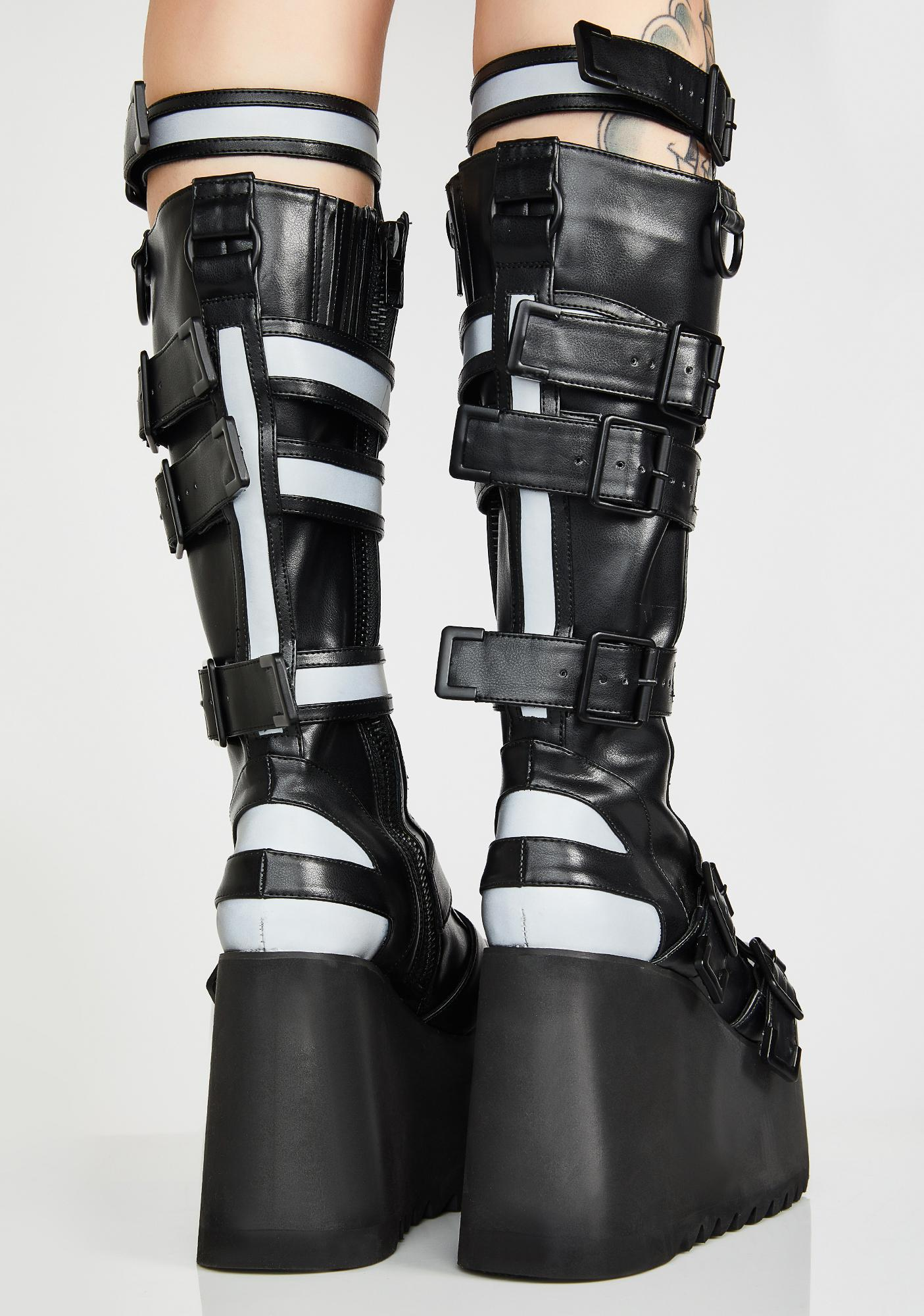 Club Exx Mindwarp Reflective Platform Boots