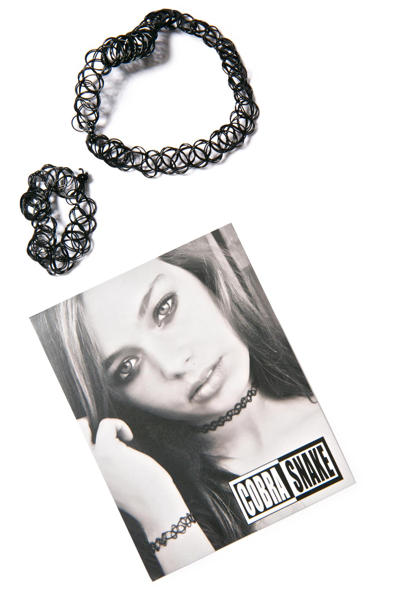 The Cobra Snake Nostalgia Bombin' Tattoo Choker & Bracelet Set