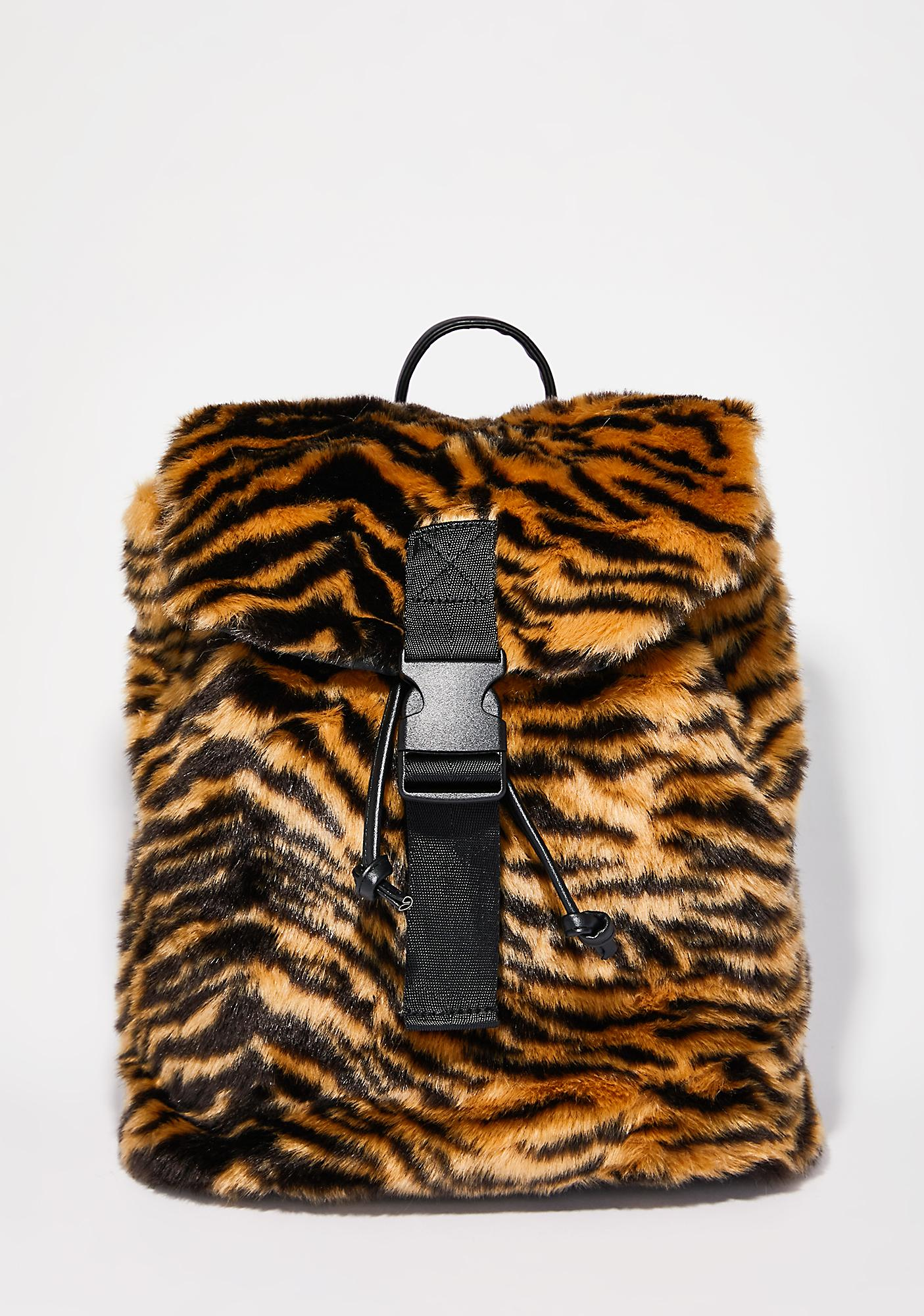 Skinnydip Tiger Fur Backpack