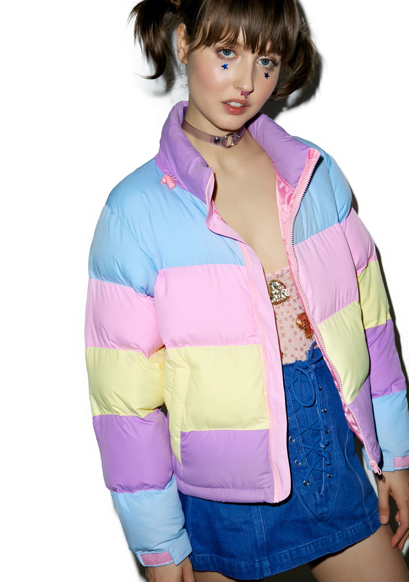 7ebaec2985 Lazy Oaf Pastel Panel Puffer Jacket
