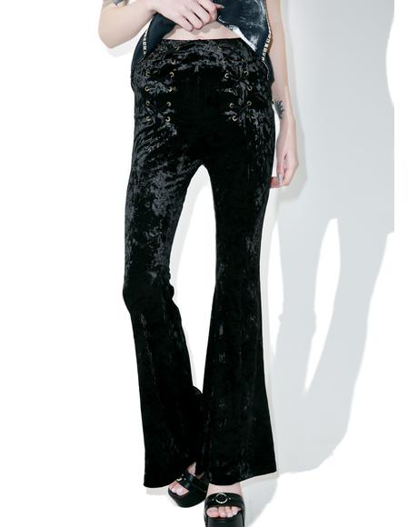 Dark Lies Velvet Lace-up Flares