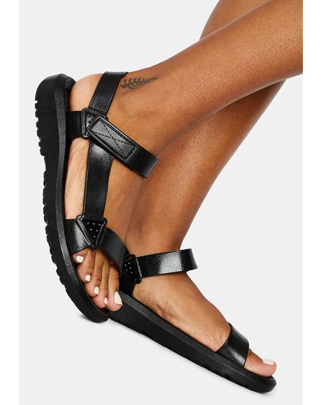 Dark Breath Of Fresh Air Velcro Sandals