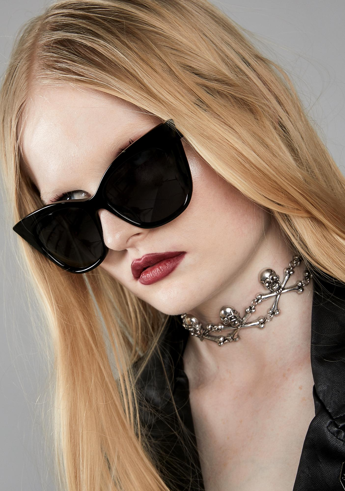 8c5bd7058136f Black Cat Eye Thick Frame Sunglasses