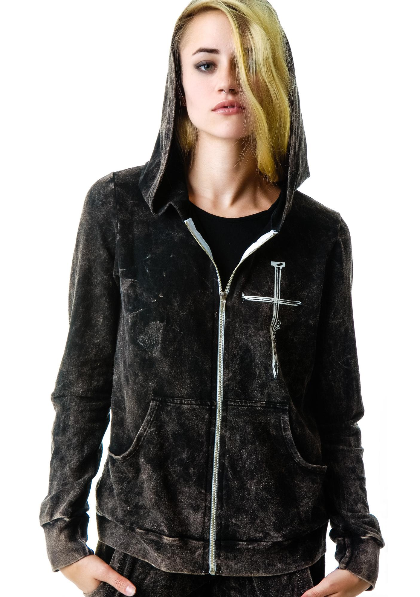 Lauren Moshi Nail Candy Fitted Zip Up Hoodie