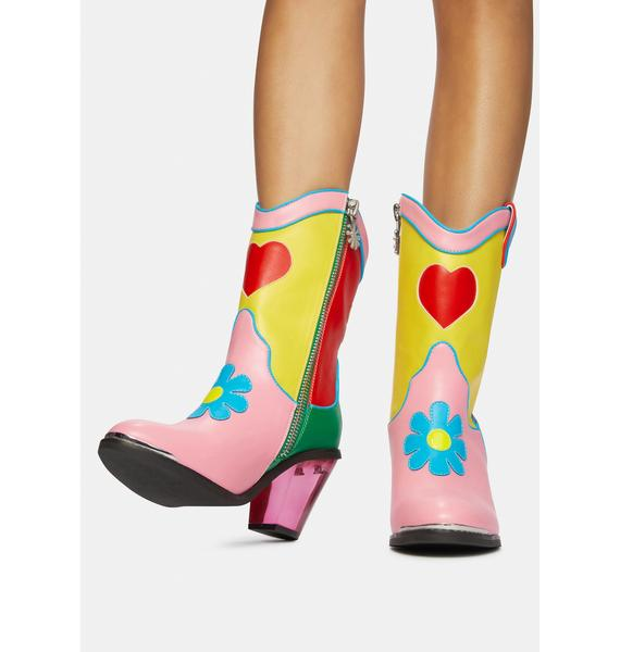 dELiA*s by Dolls Kill Free Luv Nation Colorblock Cowboy Boots